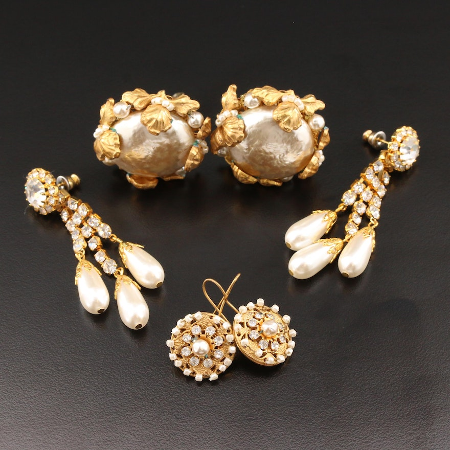 Button, Drop and Chandelier Earrings with Miriam Haskell and Imitation Pearl