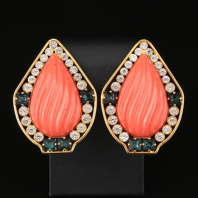 Vintage Clip-On Earrings with Valentino Pouch and Faceted Glass