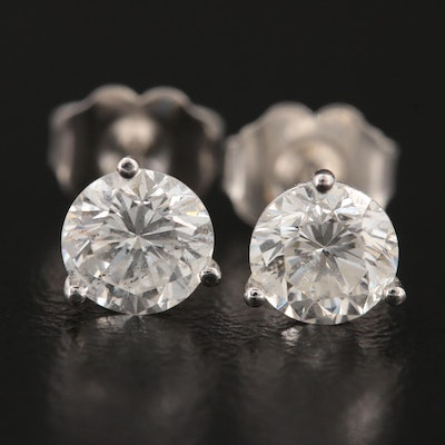 14K White Gold 1.25 CTW Diamond Martini Set Stud Earrings