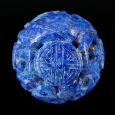 Carved Lapis Lazuli Bead