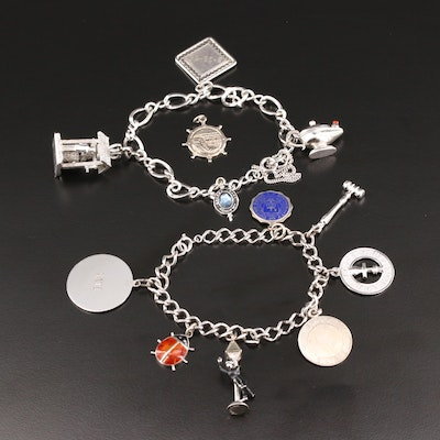 Sterling Silver Charm Bracelets with Gemstones