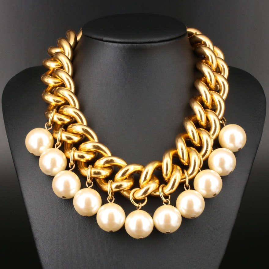 Erwin Pearl Curb Chain and Imitation Pearl Necklace