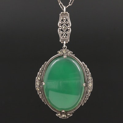 Sterling Silver Chalcedony and Marcasite Pendant Necklace