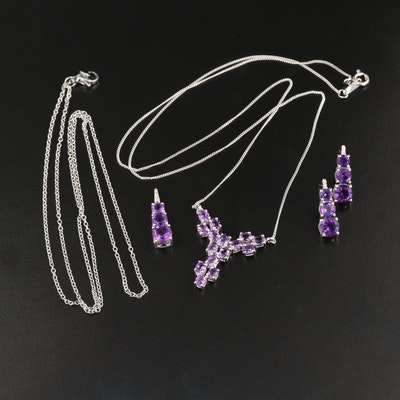 Sterling Silver Amethyst Necklaces and Dangle Earrings
