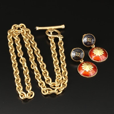 Glass Crystal and Enamel Dangle Earrings with Toggle Necklace