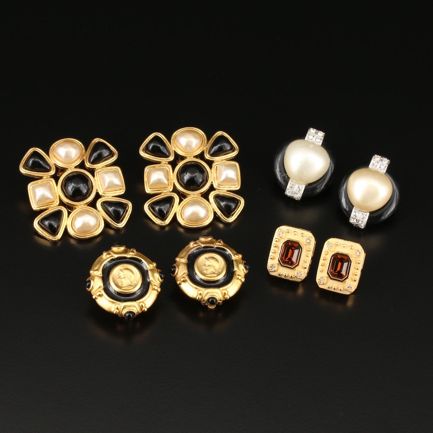 Clip-On Earrings Featuring Carolee, Kenneth Jay Lane and Imitation Pearl
