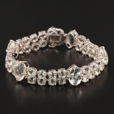 Sterling Silver Prasiolite Link Bracelet