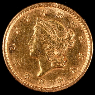 1852 Liberty Head $1 Gold Coin