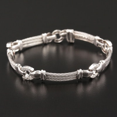 Charriol 18K White Gold and Stainless Steel Diamond Triple Cable Bracelet