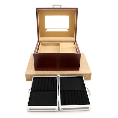 Wooden and Faux Leather Jewelry Box with Faux Suede Document Box and Case