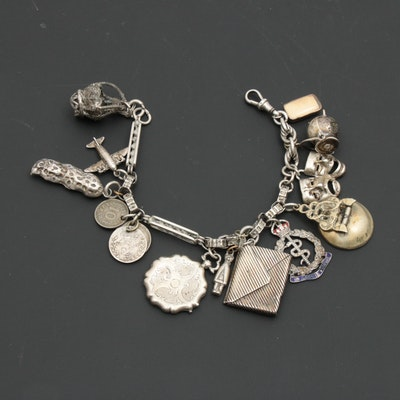 Converted Watch Fob Charm Bracelet Including Sterling Silver