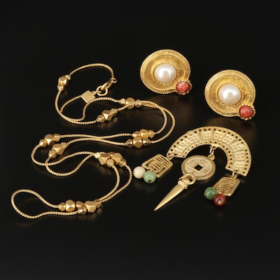 Glass and Imitation Pearl Earrings and Brooch Including Anne Klein Necklace