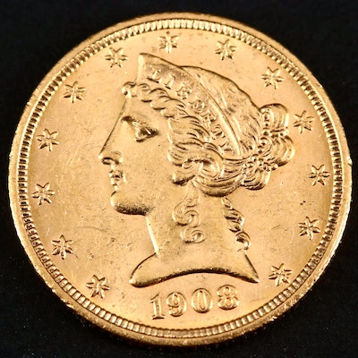 1908 Liberty Head $5 Gold Coin