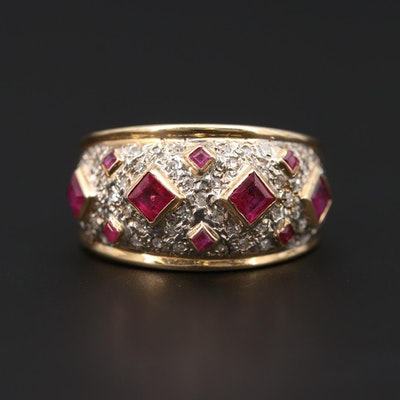 14K Yellow Gold Ruby and Diamond Tapered Dome Band