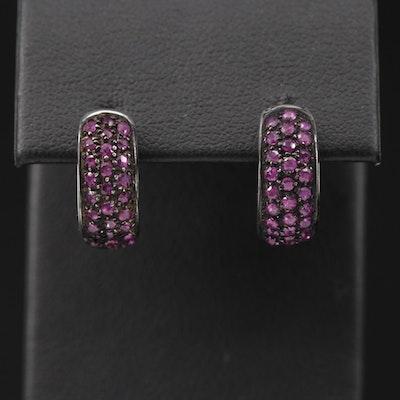 18K White Gold Ruby Huggie Earrings