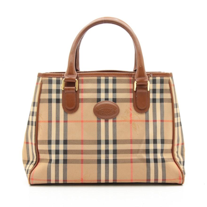 "Burberrys ""Haymarket Check"" Canvas and Leather Top Handle Bag, Vintage"