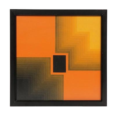 "Rinaldo Paluzzi Op Art Acrylic Painting ""Estudio,"" 1970"