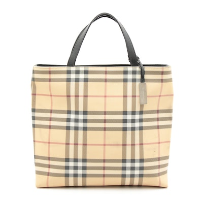 "Burberry ""House Check"" Coated Canvas and Black Leather Medium Tote Bag"