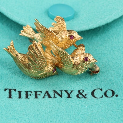 Vintage Tiffany & Co. 18K Yellow Gold and Ruby Brooch with Bird Motif