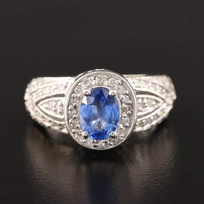 14K White Gold 1.25 CT Blue Sapphire and Diamond Ring