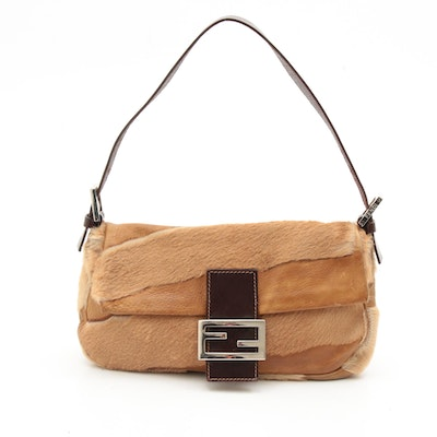 Fendi Tiger Stripe Pony Hair and Leather Baguette Bag