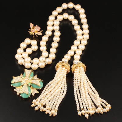 Joan Rivers Imitation Pearl Necklace and Glass Crystal Brooches