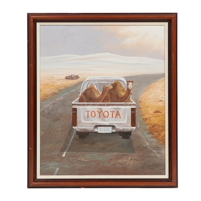 Camels in Toyota Truck Desert Landscape Oil Painting
