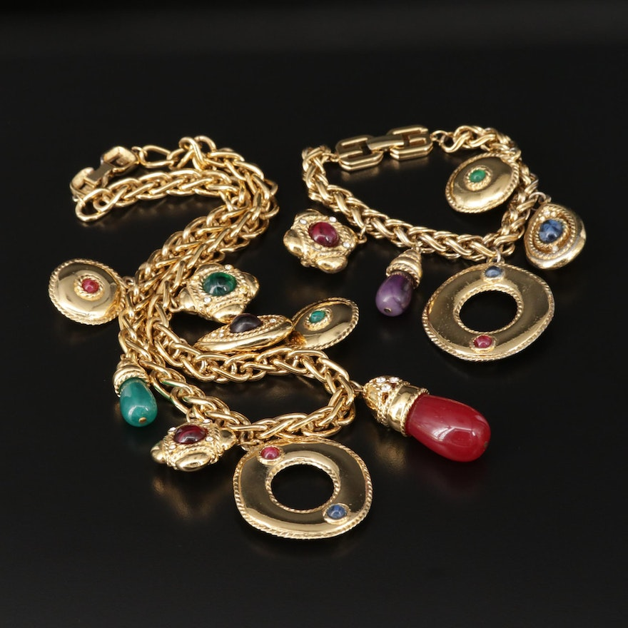 Givenchy Glass and Rhinestone Bracelet and Necklace
