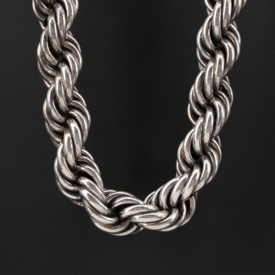 Mexican Sterling Silver Rope Chain Link Necklace