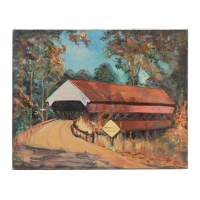 Landscape with Covered Bridge Oil Painting