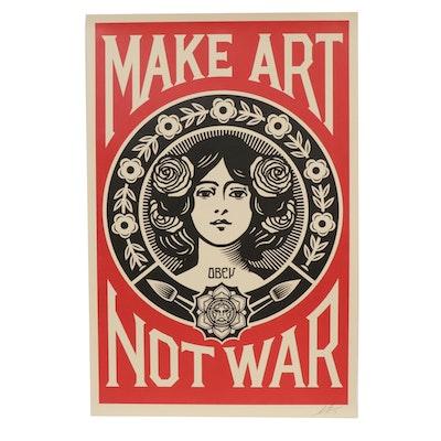 """Shepard Fairey Offset Poster """"Make Art Not War,"""" 2019"""