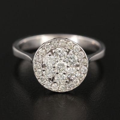 18K White Gold Diamond Cluster Ring with Halo