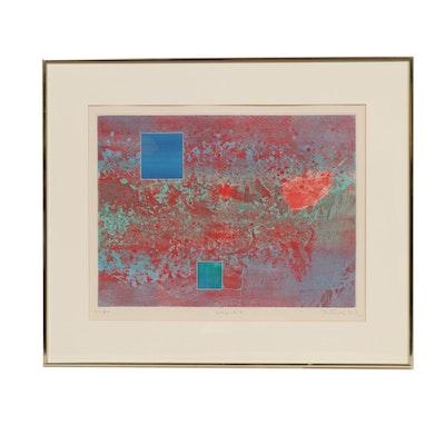 "Gabor Peterdi Etching with Aquatint ""Napoli I"", 1973"
