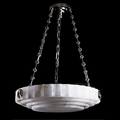 Deco Revival Style Stone Pendant Light