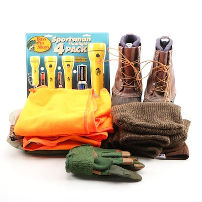 Outdoor Gear Including L.L. Bean Hunting Boots, Bass Pro Flashlights, Vests more