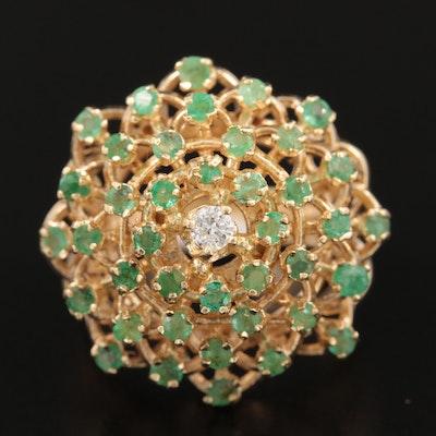 14K Yellow Gold Diamond and Emerald Harem Ring
