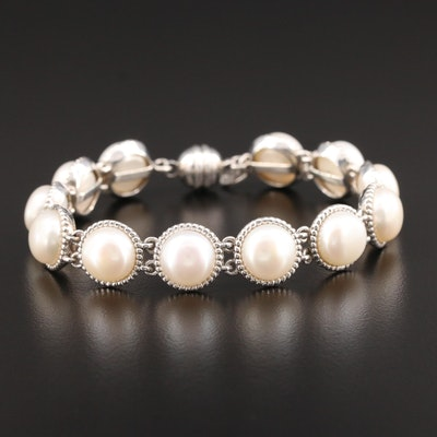Sterling Silver Pearl Link Bracelet