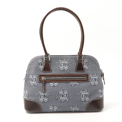 Dooney & Bourke Donegal Crest Canvas and Brown Leather Domed Satchel