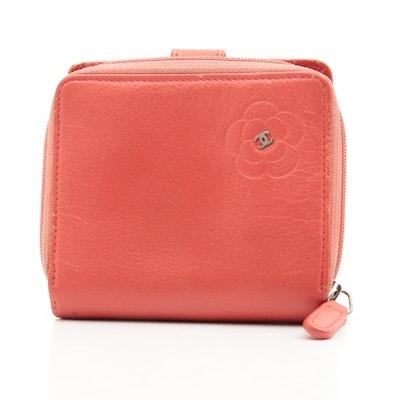 Chanel CC Camellia Lambskin Zip Wallet in Coral