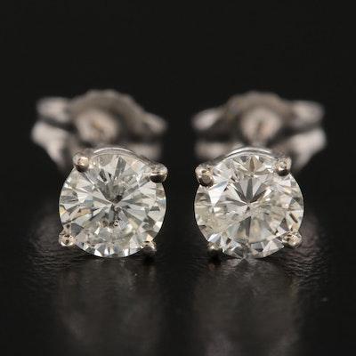 14K White Gold 1.01 CTW Diamond Solitaire Stud Earrings