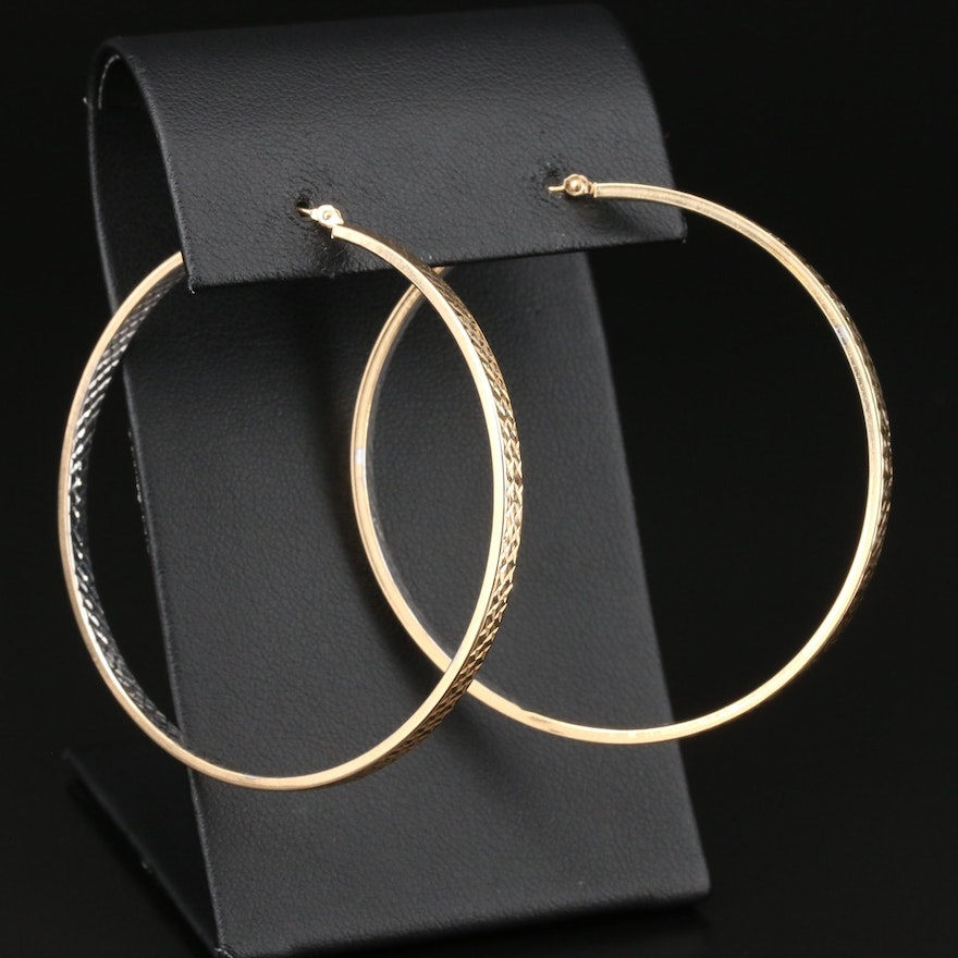 14K Yellow Gold Large Hoop Textured Earrings