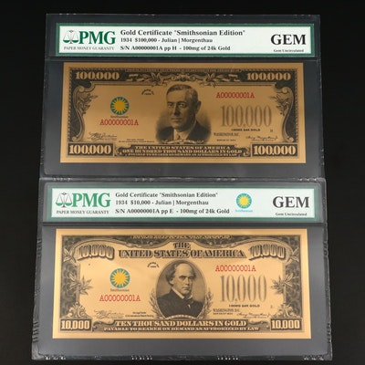 Group of Two Modern Golden PMG Graded Gem Uncirculated Notes