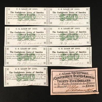 Group of Eight Confederate States of America Bond Notes