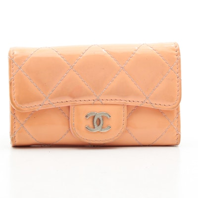 Chanel CC Peach Quilted Patent Leather Key Hook Flap Wallet