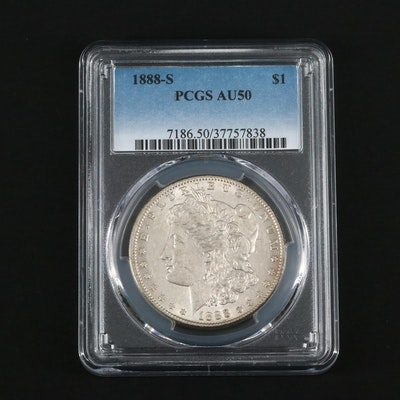 Key Date Low Mintage PCGS Graded AU50 1888-S Morgan Silver Dollar