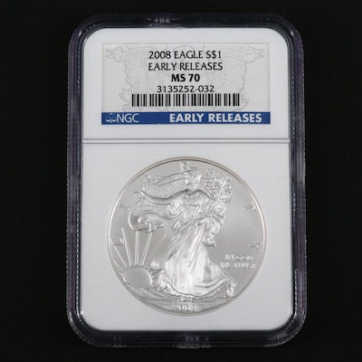 NGC Graded MS70 2008 American Silver Eagle Bullion Coin
