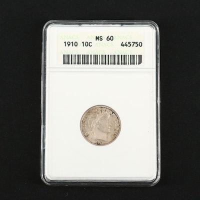 ANACS Graded MS60 1910 Barber Silver Dime