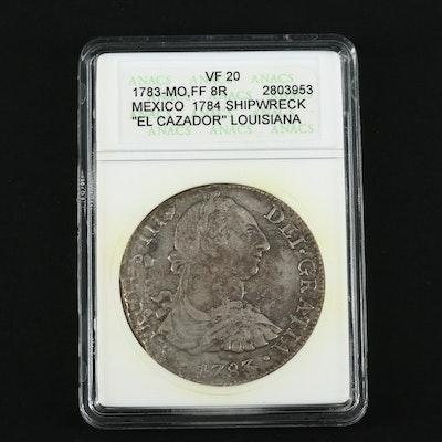 """ANACS Graded VF20 1783 Mexico Colonial 8-Reales """"El Cazador"""" Silver Coin"""