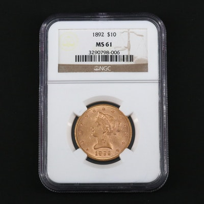 NGC Graded MS61 1892 Liberty Head $10 Gold Eagle Coin
