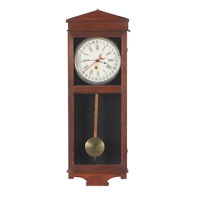 The E. Ingraham Company Calendar Regulator Wall Clock, Antique